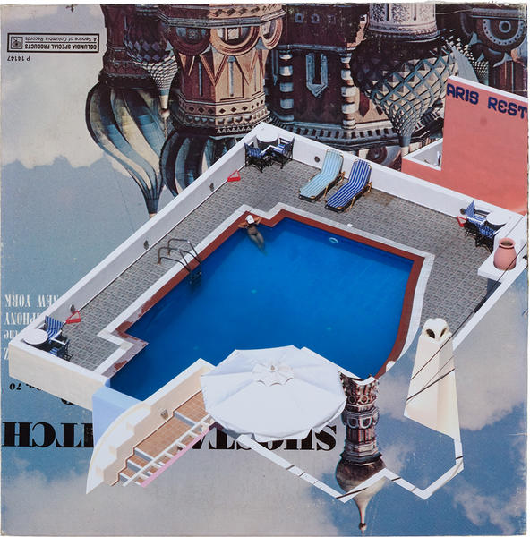 Ari's Rest, mixed media on vintage album cover