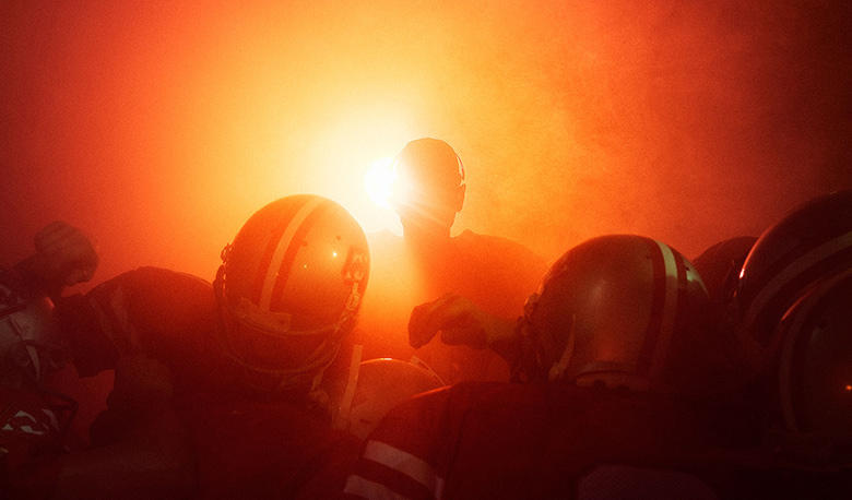 Huddle, in fire
