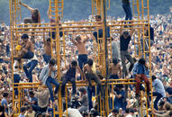 Climbing the Sound Tower, Woodstock Festival, 1969