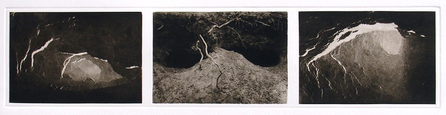 Coyote Caves I, 1997, triptych copperplate gravure