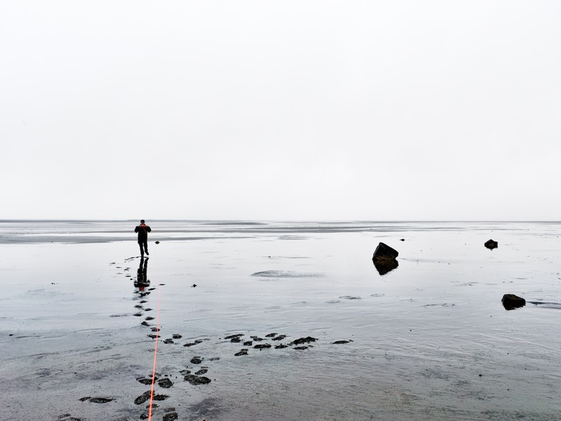 Measuring to the horizon from Land's End, Mjóifjör