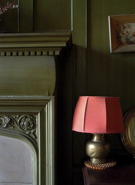 Red Lamp & Fireplace