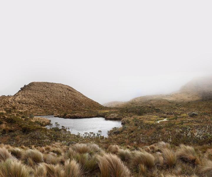 Tundra lagoon on the Ascent to the Puracé Volcano