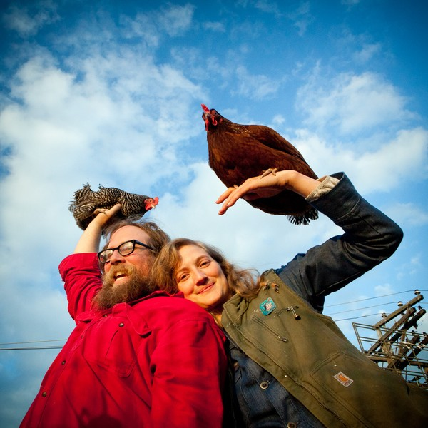 Nat and Michelle with chickens