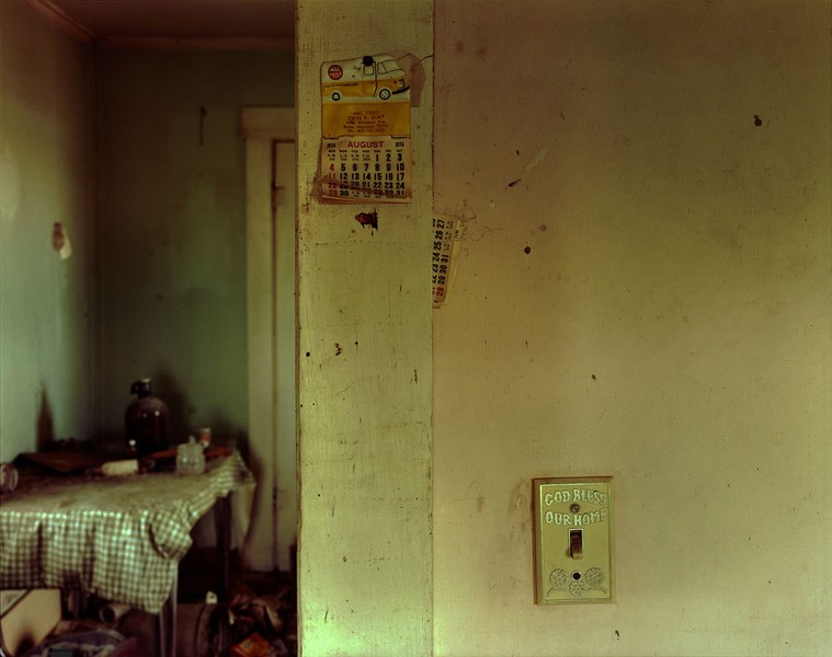 Calendar left on the living room wall in Ingomar, eastern Montana, 1998