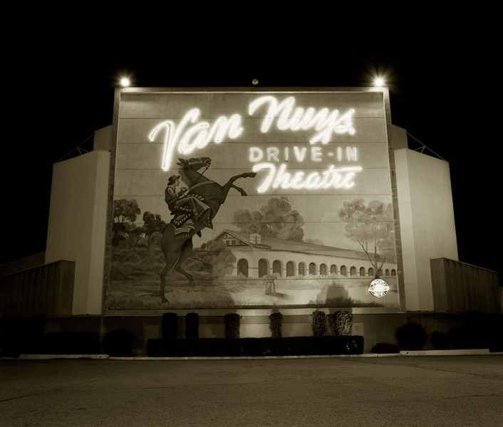 Drive-in theater, Highway I-5, Van Nuys, California, 1973