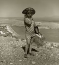 Tourist lady, Highway 66, Meteor Crater, Arizona, 1971