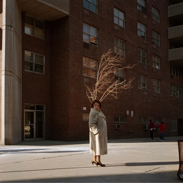 Woman in Fur Coat, with Tree, New York City, 1987