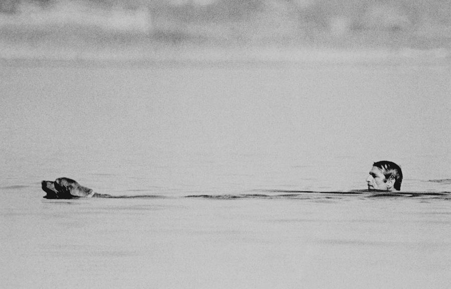 Man, Dog, Water, Lagoa de Santo Andre, Portugal