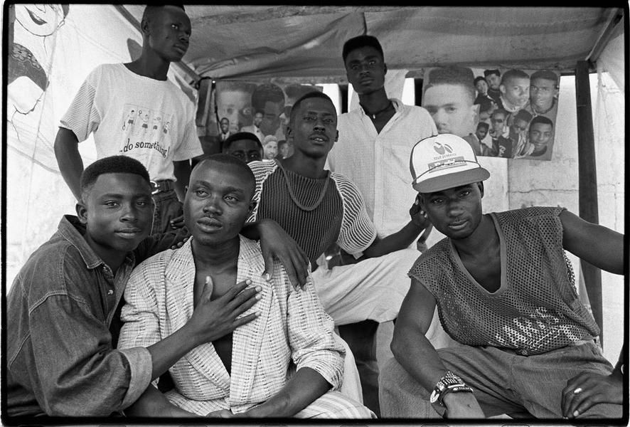Friends pose in Barbing Shop, Benin