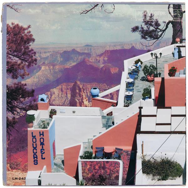 Hotel Loucas, mixed media on vintage album cover