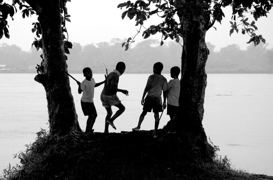 Boys Play near the Atrato River in Bellavista