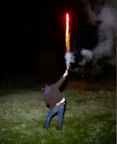 Manny Holding a Firework, Bovina