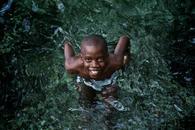 Boy swimming in Dominican Repulic.