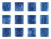 Array of 12 cyanotypes from laser etched negatives