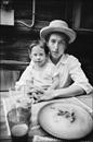 Bob Dylan with son Jesse, Byrdcliffe home, 1969.