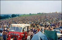 Pizza truck, Woodstock Festival, 1969.