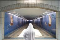 Muslim Woman in White Burka
