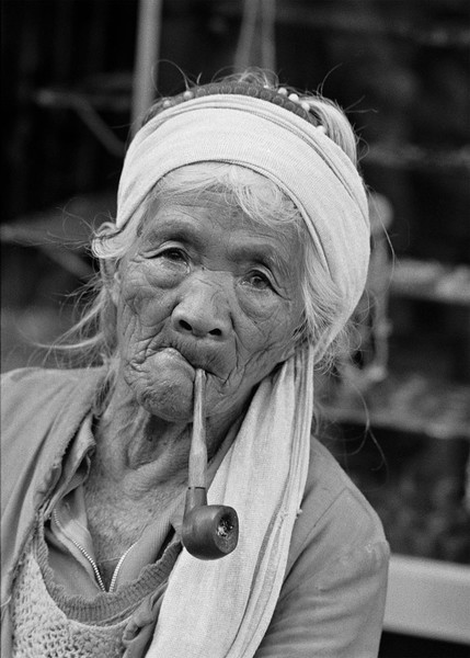 Tribal Woman with Pipe, The Philippines, 1977