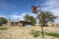 House with Basketball Hoop, Mosquero, New Mexico,