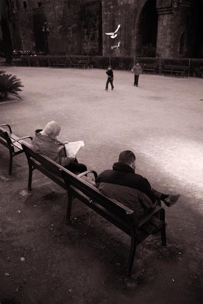 Men on Bench, Barcelona, Spain, 2011