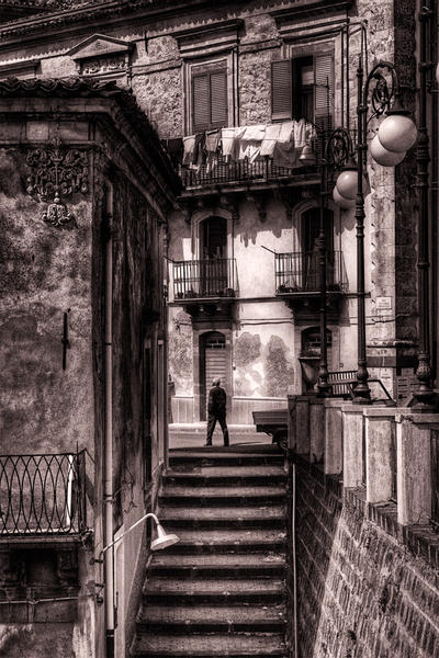 Man at Top of Stairs, Sicily, 2005