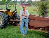 Dave Vitone with mower, Atwater OH