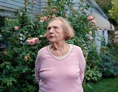 Marjorie Angel with pink roses, Akron OH