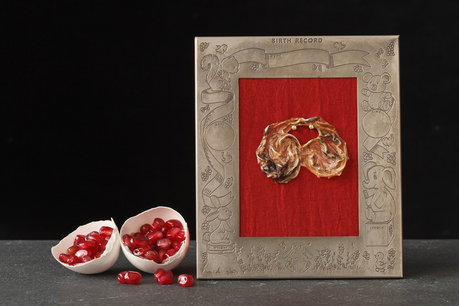 Pomegranate Seeds, Egg Shell, and Umbillical Cord