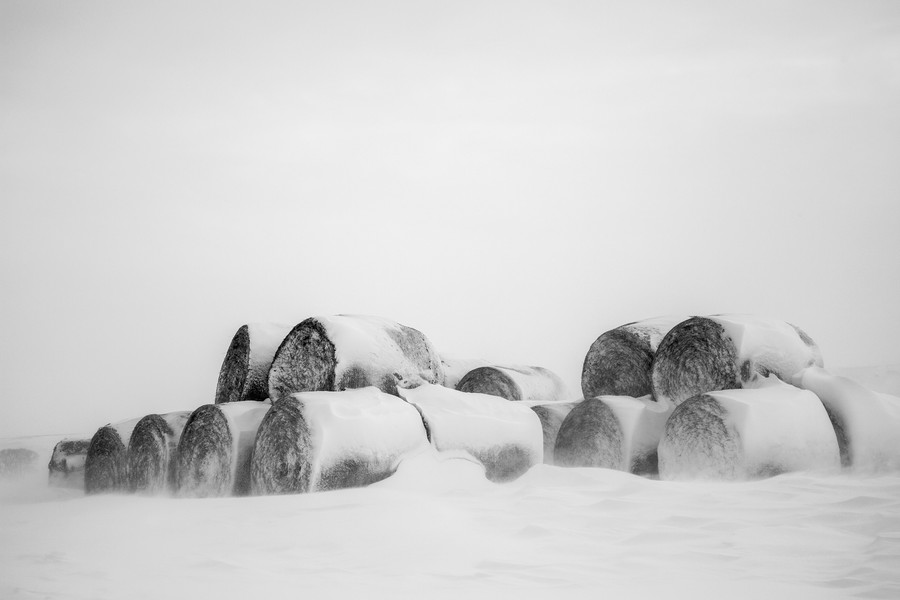 Hay Bales in a storm