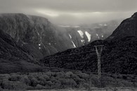 Power line on highway to Port Au Basque