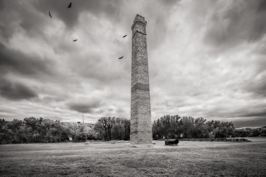 Chimney, De Mores Packing Plant Ruins,  Medora, ND