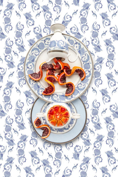 Noritake Sonnet in Blue with Blood Orange