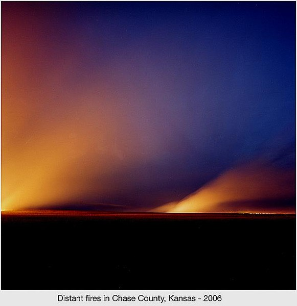 Distand fires in Chase County, Kansas
