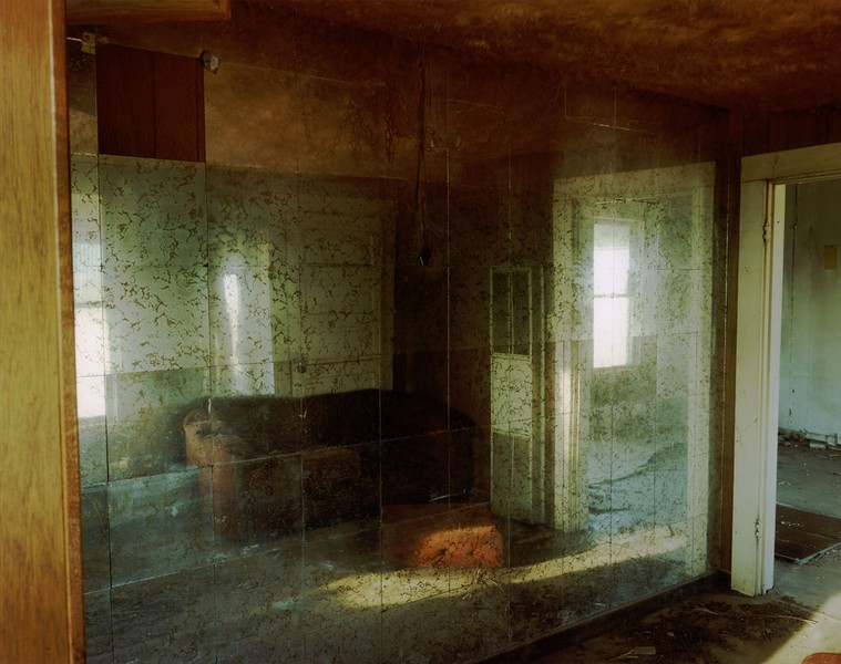 Living room with a mirror wall in a house near Lefors, Texas, March 20,1998