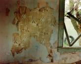 Spaceship wallpaper in a bedroom in Yoder, eastern Wyoming, June 9, 1995