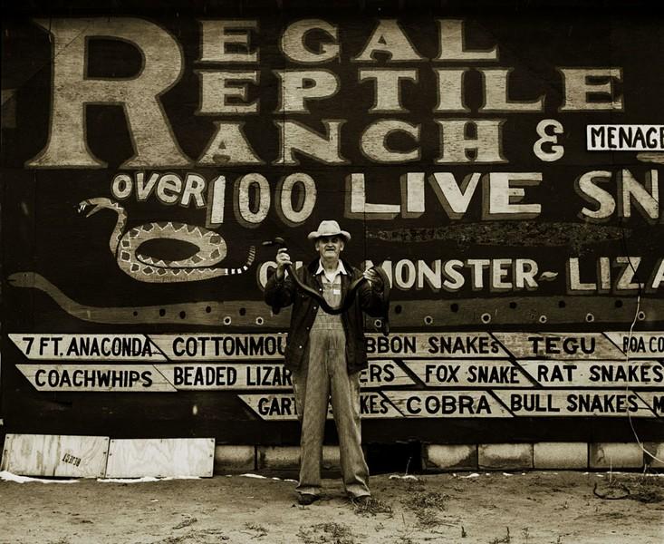 Snakepit operator, Highway 66, Sayre, Oklahoma, 1972?