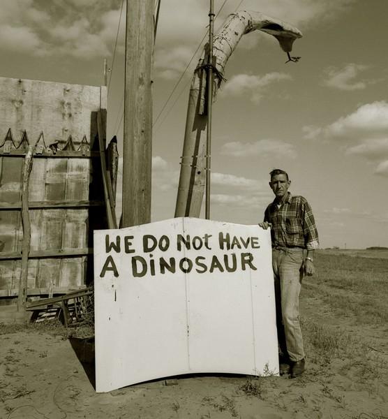 Snakepit operator, Highway 66, Sayre, Oklahoma, 1973