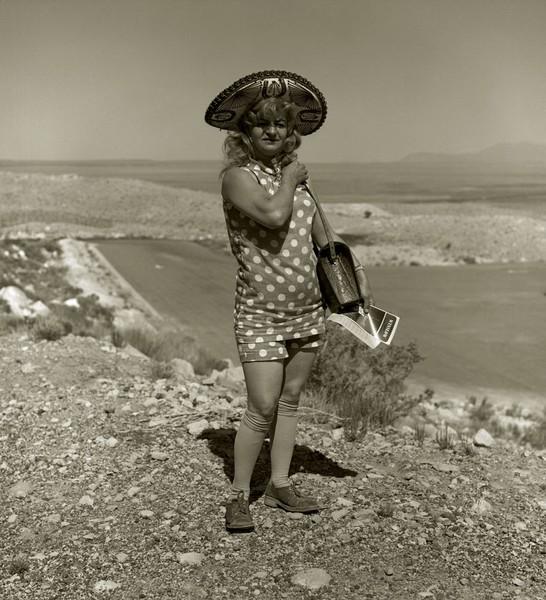 Tourist lady, Highway 66, Meteor Crater, Arizona, 1971